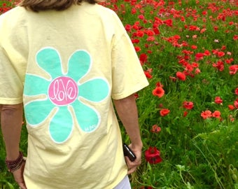 Comfort Colors Flower Power Yellow T Shirt| Preppy Pocket Tee Small