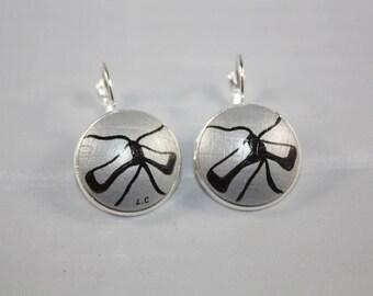 Earrings 'Laurette' Ballet shoe bottom silver 20mm