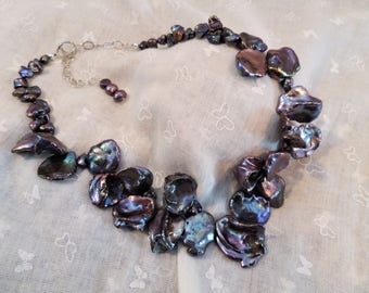 Necklace - Keshi pearl with sterling silver - Ref: C271