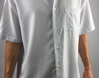 90's White Grid Button Up Tee