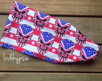 Hippie Headband, American Headband, Patriotic, Skulls, American Headband, Sweatband, Headbands for Men, Women