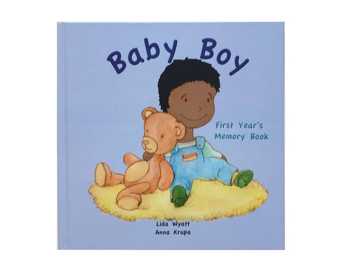 Baby Boy First Year's Memory Book - Black Hair/Dark Skin