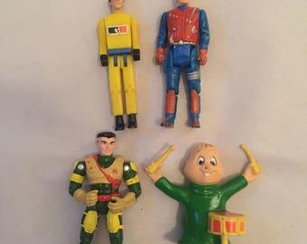 Vintage Lot of Random Action Figures: MASK, Exo Squad, MAC, Alvin and the Chipmunks