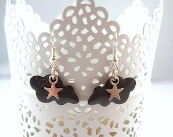 Gray cloud Silver earrings