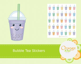 Bubble Tea Stickers, Kawaii Stickers, Kawaii Planner Stickers, Erin Condren Life Planner, Happy Planner, Mambi