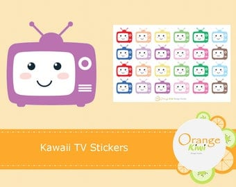 Kawaii TV Stickers, Planner Stickers, Erin Condren Life Planner