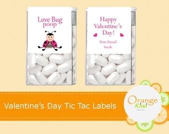 Valentine's Day Tic Tac Labels, Love Bug Poop Stickers, Happy Valentine's Day Stickers