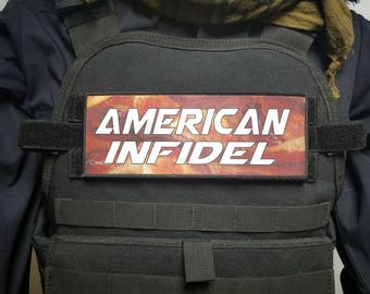 """3x8"""" American Infidel Bacon Tactical Hook Loop Plate Carrier Patch"""