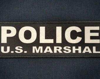POLICE U.S. MARSHAL 2x6 Black White Tactical ID Raid Hook Patch us marshals usms