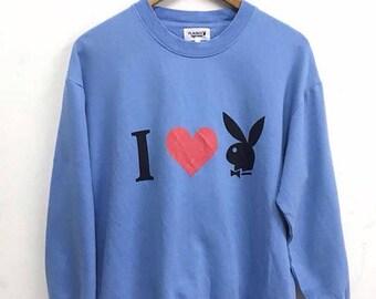 20% OFF Rare!! Vintage PLAYBOY 90's Big Head Bunny Sweatshirt Pullover Jumper Hiphop Swag Spellout Jacke Medium