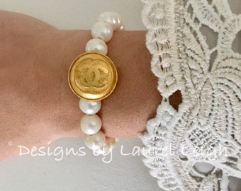 Pearl Bracelet | Designer, GOLD, designer, vintage, stretchy, Designs by Laurel Leigh