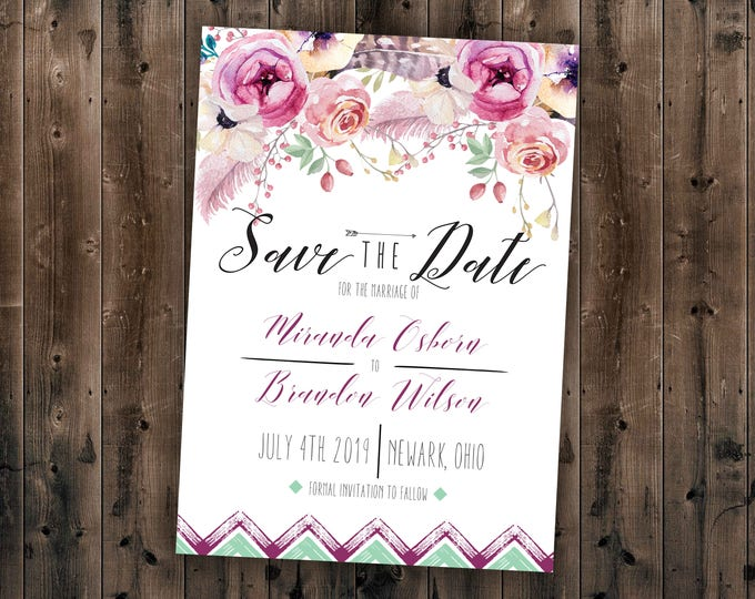 Boho Save the Date Cards, Bohemian Wedding Save the Date, Boho Invite, Floral Wedding Invitation, Affordable Invite, Boho Chic, Watercolor