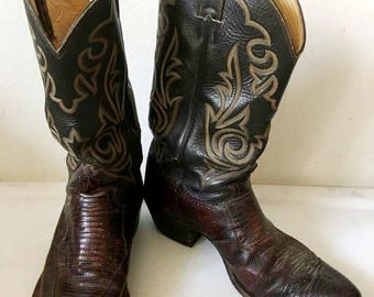 Brown men's boots from real leather, with embroidery vintage style western style cowboy boots old boots retro boots men's size - 12.