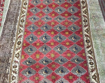 Beautiful carpet path 100% wool oriental pattern rug red violet and brown color warm vintage old carpet path suitable for home & restaurant.