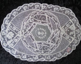Lace mat French vintage sewn together very finely by hand.