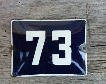 Vintage blue & white porcelain enamel house Number 73 sign