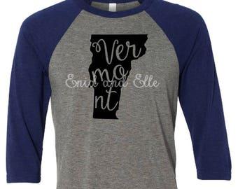 Vermont t-shirt - Vermont state shirt -Vermont home t-shirt - home shirt - Vermont baseball shirt -Vermont raglan shirt - Enid and Elle