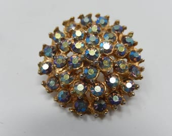 Old iridescent rhinestone brooch, free shipping