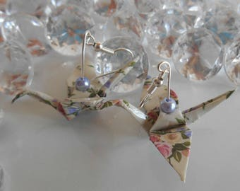 Origami cranes shabby earrings Lavender pearls