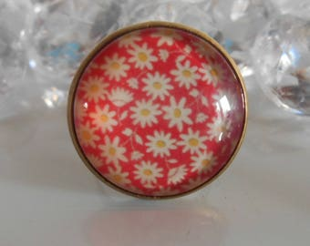 "Ring bronze ""White Daisies"" glass cabochon"