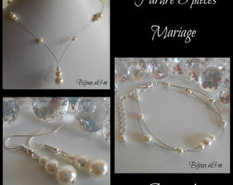 Set of 3 wedding pieces cascade of ivory pearls