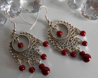 Drop earring Gypsy Burgundy pearls