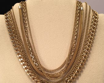 Vintage Gold tone Multi-Strand Choker Necklace