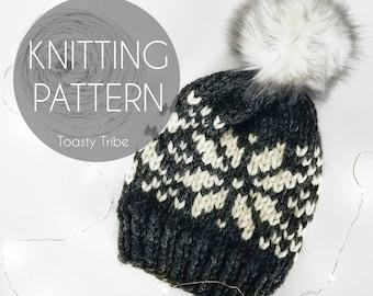 Knitting Pattern PDF/ Nordic Mountain Cap Pattern / Fair Isle Pattern/ Cozy Winter Hat