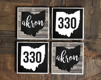Akron Coasters, Ohio Coasters, Akron Decor, Akron Ohio, Rubber City, 330, Akron Coaster, Ohio Coaster, Tile Coasters, Ohio Decor, Akron