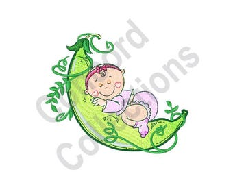 Peapod Baby Girl - Machine Embroidery Design