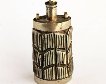Vintage Snuff Bottle - made from Bone and Metal