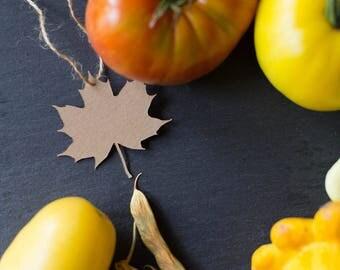 Maple Leaf Hang Tags - Kraft Paper - Pack of 10