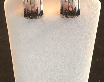 Native American Navajo Sterling Silver Hand Stamped Half Hoop Earrings
