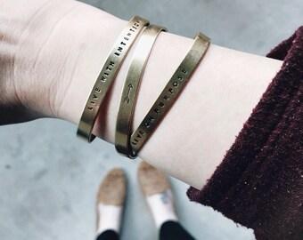 Intention Bracelet Set, Everyday bracelets, Dainty Bracelets, Mantra Jewelry, Womens Stamped Copper Bracelet, Aluminum Cuff, Girlfriend gift