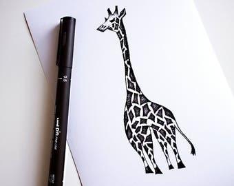 Geometric Giraffe, Stippling Black And White Ink Drawing, Giclee Print