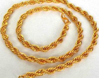 Elegant Indian Gift Elegant Designer Bridal Wedding  22K/24K Gold Plated Jewlery Rope Necklace Thick Chain 1Pc