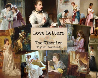 Love Letters - Digital Ephemera Classics, Digital Images, Vintage Art, Instant Download, Digital Paper, Digital Collage