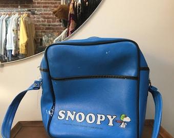 "Vintage Seventies 1970s Snoopy Red Baron Flight Bag Messanger Bag Tote Bag Peanuts Charles Schultz ""Keep 'Em Flying"""