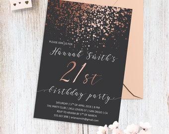 View Birthday Party Invites By BohemePrints On Etsy - 21st birthday invitations gold coast