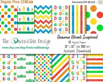 50% OFF SALE Sesame Street Inspired digital paper pack for scrapbooking, Making Cards, Tags and Invitations, Instant Download