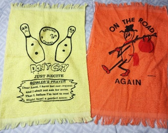 Lot of 2 Vintage Bowling Towels On The Road Again and Bawling Bowlers Prayer Fun
