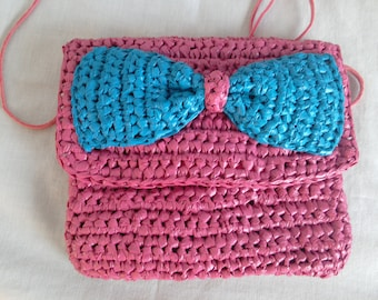 Upcycled ' bag or belt pouch, crocheted from recycled plastic bags, pink/blue wood made, upcycling