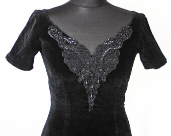 Vintage Monsoon Black Velvet Embroidered Glam Dress Twilight
