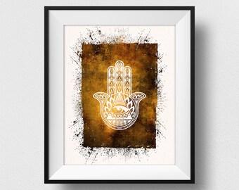 Hamsa Wall Art, Hamsa Hand Print, Yoga Symbol Print, Ancient Religious Symbol, Watercolor Yoga Poster, Meditation Mantra (N507)