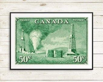 Alberta Oil Wells, Canada Oil Industry, Canadian Art, Canada Poster, Canada Stamp Art, Vintage Canada Art, Canada Poster, Canada Postal Art