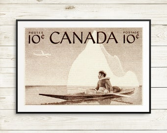 P044 Native Canadian, Inuit Hunter, Canadian North, Canadian Art, Iceberg print, iceberg art, sepia art, Canadian Inuit, Yukon, Nunavut