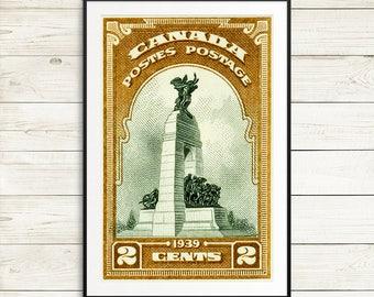 P110 Ottawa War Memorial, Ottawa Canada, Canadian Landmark, War Memorial, Vintage Stamps, Vintage Postage, Postage Stamps, Antique Etching