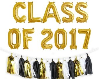"CLASS OF 2017 Letter Balloons | 16"" Gold Letter Balloons 