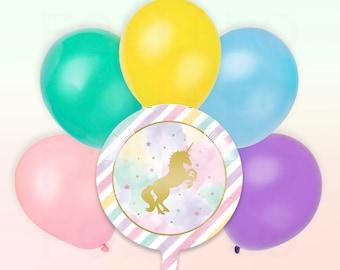 Rainbow UNICORN Balloon | Pastel Balloon Pack | Unicorn Party Theme | Unicorn Balloon Decoration
