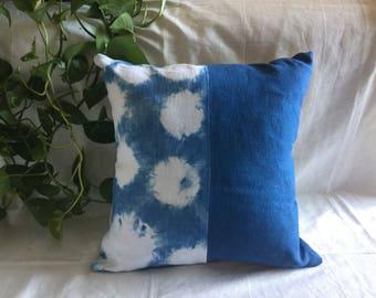 """Indigo dyed pillow cover 16"""" x 16"""""""
